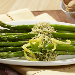 Walnut Gremolata on Asparagus