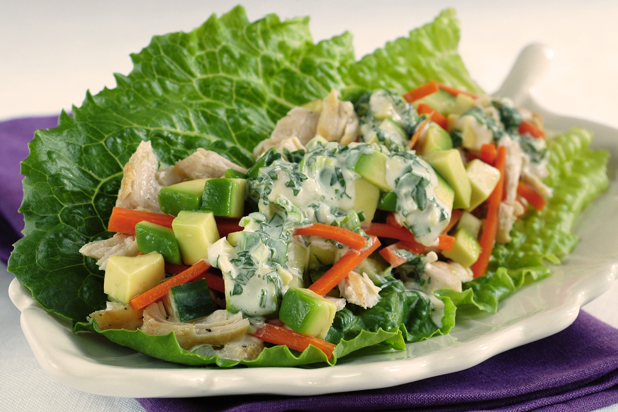 Chicken Lettuce Bundles with Sesame-Herb Dressing