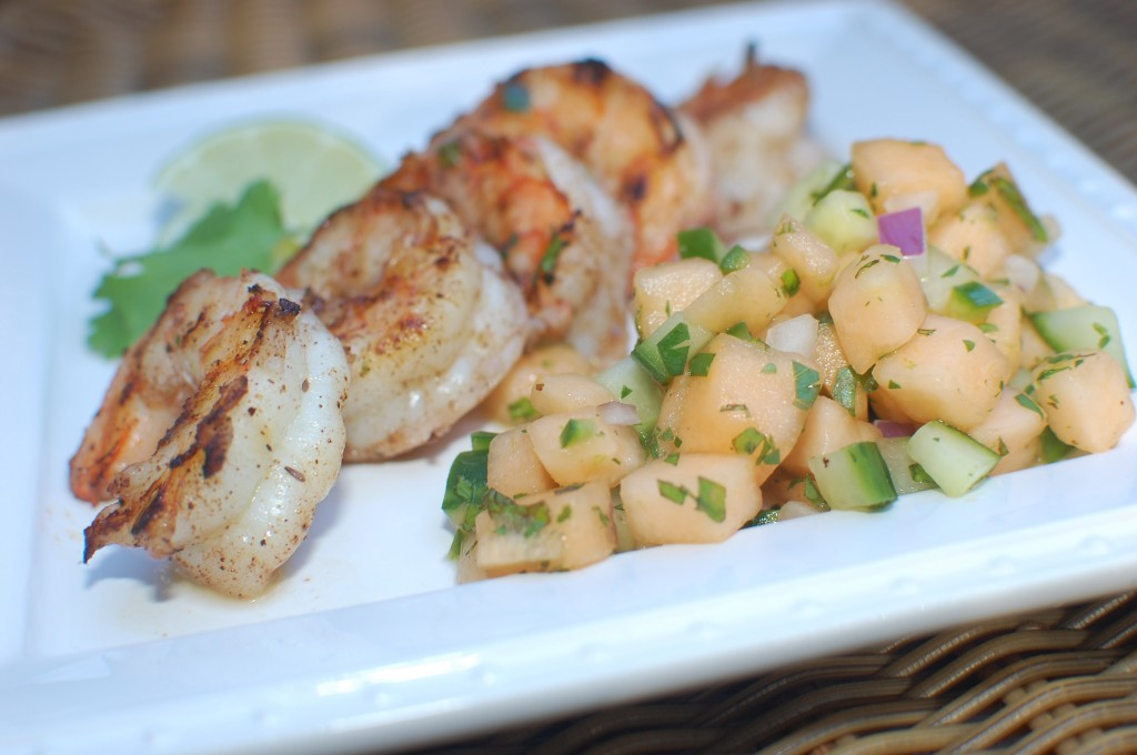 Melon Cucumber Salsa with Jerk Shrimp