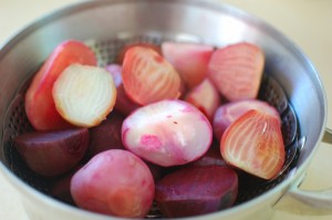 Steamed beets.