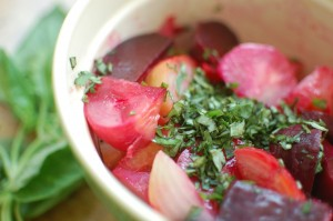 Cooked beets and basil