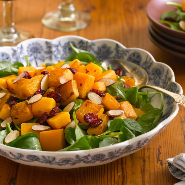 Butternut Squash Salad with Almonds and Cranberries